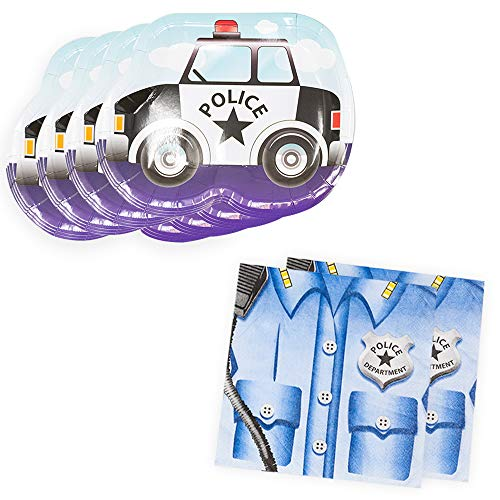 Police Cruiser Shaped Plate & Napkin Sets (70+ Pieces for 32 Guests!), Table Decorations, Police Graduations and Birthdays