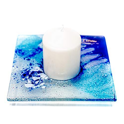 Lafiore Plato Portavelas de Cristal Artesano Incluye una Vela Aromática en Caja decoración del hogar, SPA, Centros de masajes (Azul)