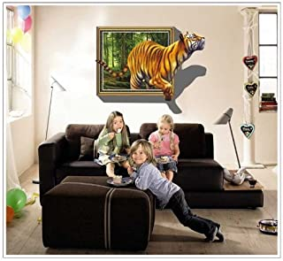 1 X YYone 3D Forest Tiger Walking Out of The Frame Mural Painting Home Wall Sticker Europe Decor