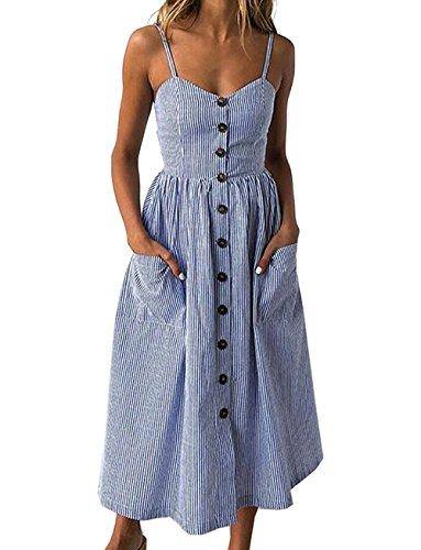Yieune Sommerkleid Damen Strandkleid Ärmellos Blumenmuster Trägerkleid Knielang Abendkleider Sexy Partykleid Cocktail Kleid