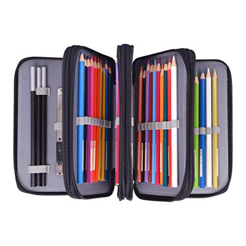 Newcomdigi Federmappe Schüleretui Federtasche 72 Bleistift Federmäppchen Bleistift-Beutel für Schule Büro Kunst (Bleistifte sind nicht enthalten) -schwarz