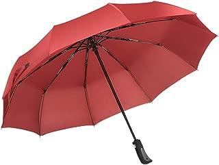 SHANGRUIYUAN-Umberllas Travel Folding Umbrella for Women Men Umbrella Windproof Durable Design Fashion Reinforced Canopy 10 Reinforced Fiberglass Ribs Auto Open Close (Color : Red, Size : One Size)