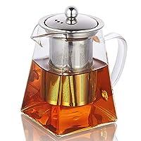 teiere in vetro con infusore rimovibile, wisolt bicchiere alto in vetro borosilicato bollitore da tè in forma quadrata, colino in acciaio inossidabile 304 e coperchio - piano cottura sicuro - 500ml