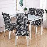 Fundas de Licra para sillas, Fundas elásticas elásticas para sillas de Comedor, Funda de cojín para Sala de Estar, extraíble y Lavable A16 4 Uds
