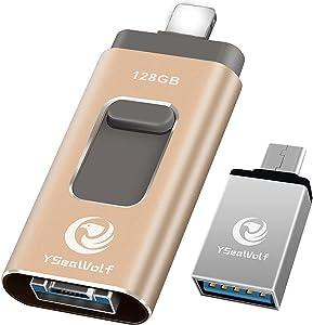 USB Flash Drive 128GB USB Flash Drive Tpye c Flash Drive 3.0 YSeaWolf External Storage, Tpye c, Android, PC USB Picture Stick USB Memory Stick photostick Mobile for iPhone (Gold)