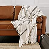 Sweet Water Decor Turkish Cotton Throw Blankets   Large Size 65 x 85   Cream with Black Decorative Stripes   Boho, Rustic, Farmhouse   Indoor, Outdoor Cover (Taylor - Three Stripes)