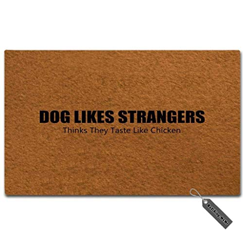 MsMr Entrance Door Mat - Funny Doormat - Dog Likes Strangers...