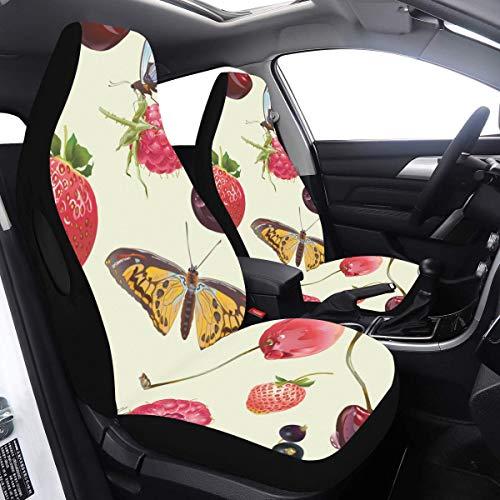 2 Pcs Set Seat Housse De Voiture Floral Summer Bee Butterfly Housse De Siège De Voiture Pour Femmes Compatible pour Airbags Universal Fit pour Voitures Camions et VUS Housses De Siège De Fille