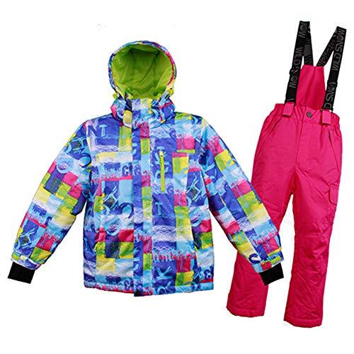 XYYHTL Skipak voor kinderen, sneeuwpak voor sport, vrije tijd, jongens, meisjes, regenjas, gevoerde mantel, snowboardbroek, winterbroek, waterdicht, winddicht, voor skiën outdoor sport