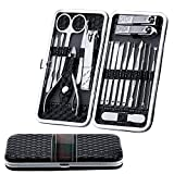 Fixget 18 Pcs Manicure Set, Professionale Tagliaunghie Set Manicure Grooming Kit con Travel Case (18Pcs Nero)