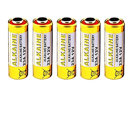 NECULAMAT 5 Pilas 23A Alcalinas de 12 voltios V23GA,K23A,LRV08,L1028,MN21 Pilas para mandos de Garaje,mandos de choche,Timbre inalámbrico,Pila Multiuso.