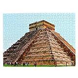 México Cancun Pyramid Maya Jigsaw Puzzle de 500 piezas para adultos niños de madera regalo recuerdo 20 x 15 pulgadas (FX03910)