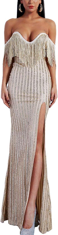 Yesexy Women's Sexy Elegant V Neck Off Shoulder Tassel Glitter Split Maxi Dress