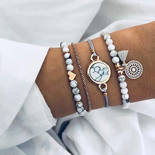 Jovono Bohemian Armband mit Türkis Quaste für Frauen und Mädchen (4 Stück)