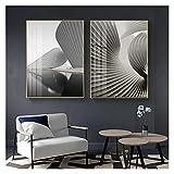 OKOEEE Simple Blanco y Negro Gris Lienzo Pintura Oro lámina de Oro Origami Cartel impresión luz Lujo Sala de Estar Porche Pintura Decorativa 20x28x2 Inch Sin Marco