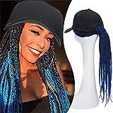 18'(45cm) SEGO Extensiones Trenzas Africanas con Gorra Pelo Sintético Se Ve Natural [Negro/Azul Real] Rizado Pelucas Postizos Baseball Cap Hair Extensions (150g)