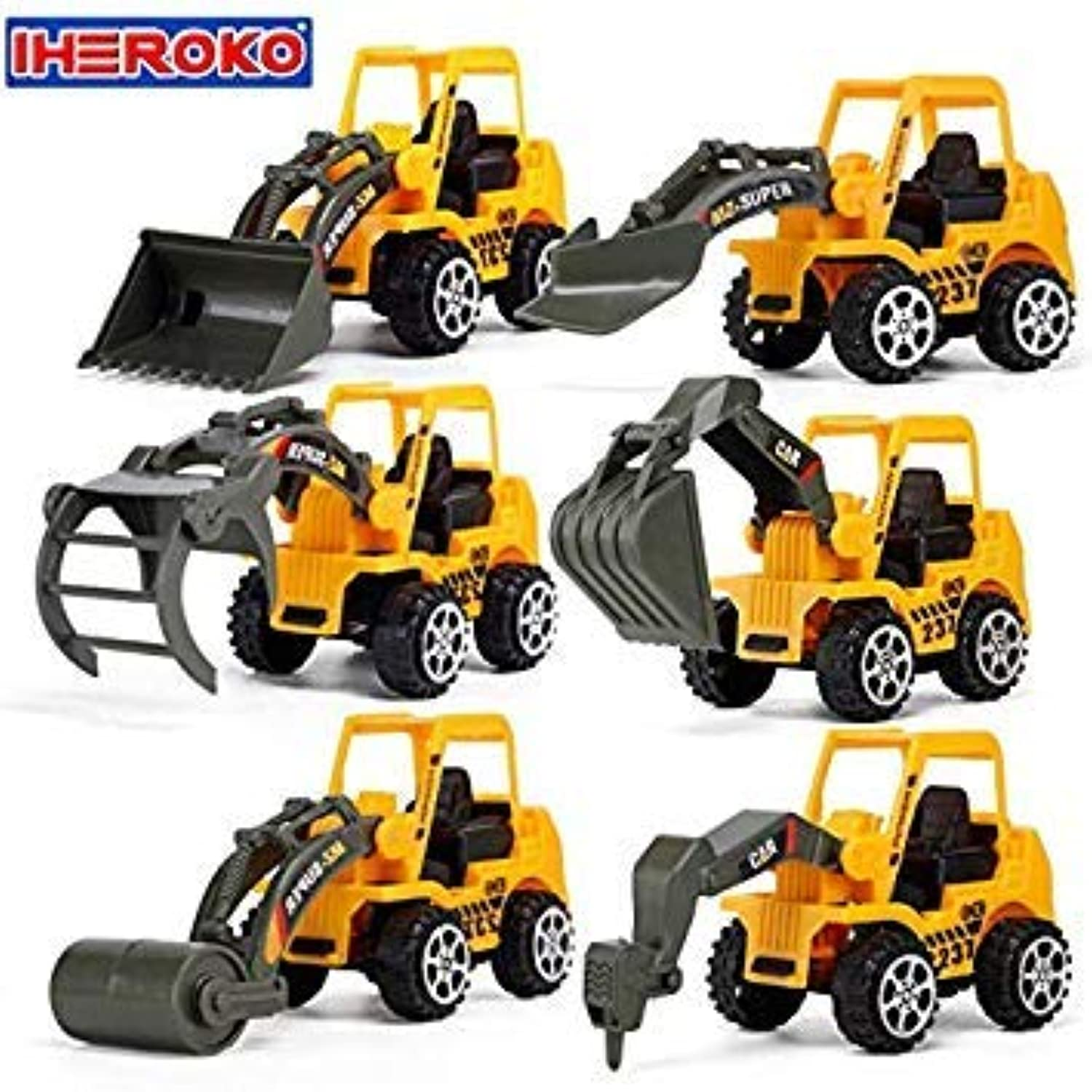 6 Types Mini Diecast Plastic Construction Vehicle Engineering Car Bulldozing Pressure Soil Truck Model Classic Toy Gift for Boy