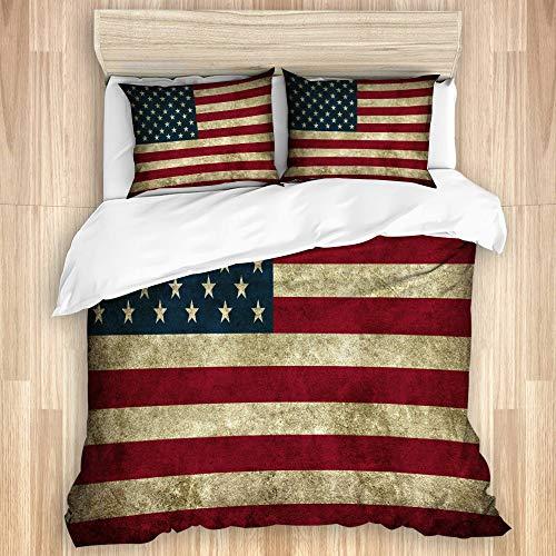 JISMUCI Set copripiumino 3 pezzi doppio formato Stati Uniti d'America bandiera americana vintage super morbido caldo copripiumino set biancheria da letto con 2 federe
