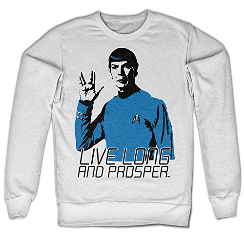 Star Trek - Live Long and Prosper Sweatshirt (Blanc), Large