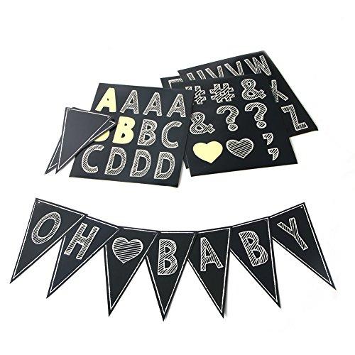 SUNBEAUTY DIY Banner Buchstaben Girlande Schwarz Alphabet Zahlen Wimpelkette Party Deko