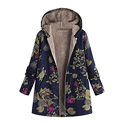 Women Coat Jacket Parka Ladies Vintage Floral Print Hooded Warm Outwear Flannel Lining Loose Oversize Overcoat Navy