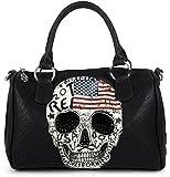 styleBREAKER Borsa da bowling con teschio bandiera USA e strass neri, borsa, da donna 02012051, colore:Nero