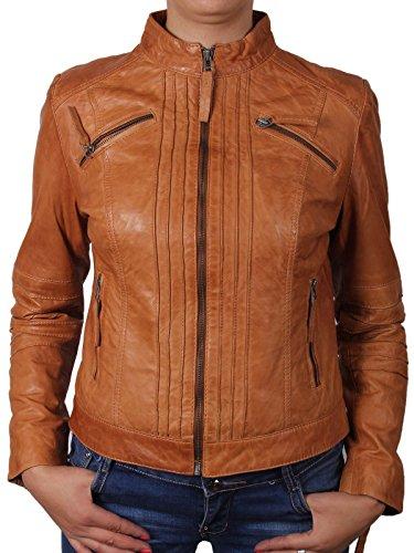 BRANDSLOCK Womens Real Leather Biker Jacket BNWT XX-Large(16) Tan