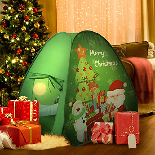 Tagitary Kids Chritsmas Play Tent Toy Children Castle Play House Foldable Tent Set for Indoor and Outdoor Use for Toddler Boys and Girls Age 3+ Included Storage Carry Bag