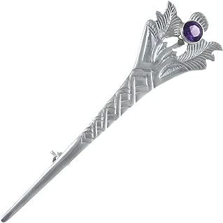 Sterling Silver & Amethyst Scottish Kilt Pin