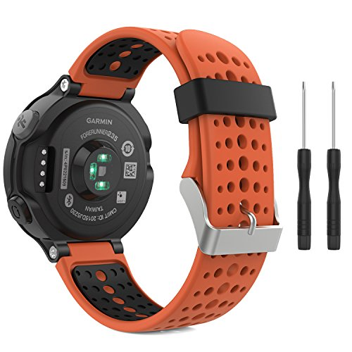 MoKo Watch Band Compatible with Garmin Forerunner 235, Soft Silicone Replacement Watch Band fit Garmin Forerunner 235/235 Lite/220/230/620/630/735XT/Approach S20/S6/S5 - Orange & Black