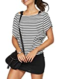 Jusfitsu Women Summer Outfits 2 Piece Dresses Casual Loose Shirt Top Print Bodycon Mini Tank Dress Off Shoulder BStripe S (Apparel)
