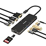 Aceele 11 Ports USB C Hub mit 4K HDMI, 1080P VGA, LAN, 3 USB Ports, 2 USB C Ports (Daten und PD), SD/TF Kartenleser, 3,5mm Audiobuchse, kompatibel für MacBook Pro, Surface go, Huawei P20 und Mehr