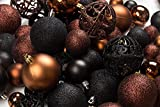 R N' D Toys 100 Brown and Black Christmas Ornament Balls Shatterproof+ 100 Metal Ornament Hooks, Hanging Ornaments for Indoor/Outdoor Christmas Tree, Holiday Party, Home Décor