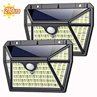 Luz Solar Exterior 210LED, AOPAWA [Actualizada 2000 Lúmenes] Foco Solar con Sensor de Movimiento Lámpara Solar Exterior Impermeable Gran Ángulo 270º de Iluminación Luces Solares Jardín 2-Paquete