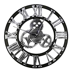 HZDHCLH Large Wall Clock Decorative Gear Wall Clock, Vintage Roman Numerals Wall Clock Non Ticking Metal Skeleton Clock Living Room, Hotel Office Home Decor Gift(Silver Roman, 12)