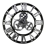 HZDHCLH 24 Inch Large Wall Clock Decorative Gear Wall Clock, Vintage Roman Numerals Wall Clock Non Ticking Metal Skeleton Clock Living Room, Hotel Office Home Decor Gift(Silver Roman,)