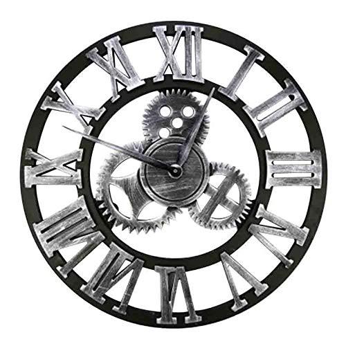 HZDHCLH Reloj de pared de 24 pulgadas, silencioso, estilo romano, retro, de madera, para bar, cafetería, hogar, color plateado