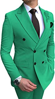 Men's Suit 2 Pieces Double-Breasted Notch Lapel Classic Tuxedos Groomsmen for Wedding(Blazer+Pants)