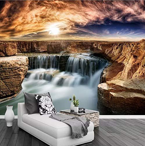 VVNASD 3D Peintures Murales des Autocollants Décorations Mur Fond D'Écran Rocher Cascade Salon Canapé Fond Décor Nature Paysage Art Filles Chambres À Coucher (W) 140X(H) 100Cm