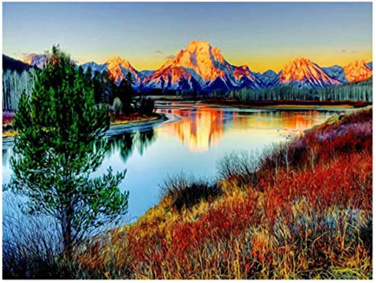 UPUPUPUP Sunset Mountain Diy Painting By Numbers Abstract Lake Oil Painting On Canvas Tree Acrylic Wall Art Gift,Tworidc550X70Cm Framed