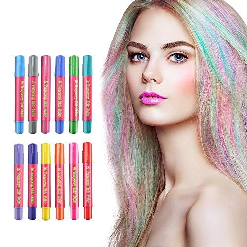 Haarkreide 12 Farben, LATTCURE Haarfarbe Kreide Stifte, Kinder Haarfärbemittel, Temporär Haarkreide instant Einmalige Haarekreide, waschbar und ungiftig