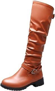 FANIMILA Women Casual Slouchy Boots Block Low Heels Zipper