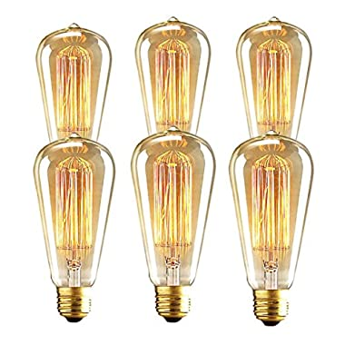 Edison Bulb 60W ST64 Antique Retro Vintage Squirrel Cage Filament Dimmable Warm Light Teardrop Style Replacement Bulbs
