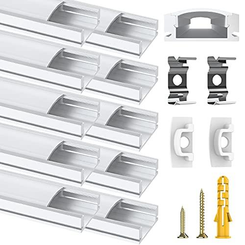 Chesbung Perfil de Aluminio, 10 Pack 0.5M/1.64ft Canal de Aluminio LED para Luces de Tira del LED, con Cubierta Blanca Lechosa, los Casquillos de Extremo y los Clips de Montaje del Metal