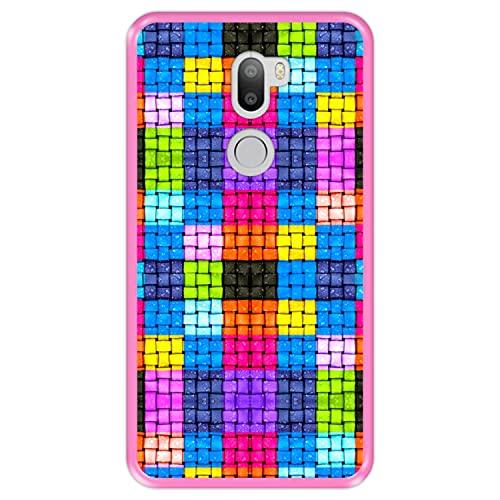 Hapdey Funda Rosa para [ Xiaomi Mi5s Plus - Mi 5s Plus ] diseño [ Cuadrados de Colores con Gotas de Agua ] Carcasa Silicona Flexible TPU