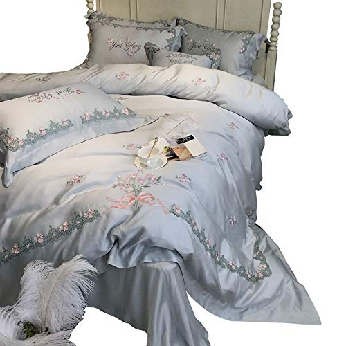 Review Of BJGCWY 80 Double-Sided Tencel Four-Piece American Silk Quilt Cover Summer Ice Silk Pastora...