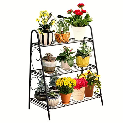 Lshbwsoif Soporte para flores de 3 capas, estante para plantas, estante para zapatos, estante de almacenamiento de hierro para sala de estar, hogar, oficina, plantas, patio, jardín, balcón