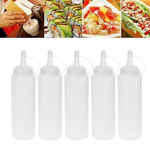 Botella de Salsa Exprimir Condimento Botellas Dispensadores con Tapas para Cocina Salsa BBQ Aceite de Oliva Ketchup Mostaza Mayonesa Salsa Picante de Ensalada(5PCS*200ml)