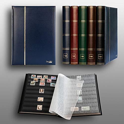 Prophila Classeur Album pour Timbres, 60 Pages, intérieur Noir (couv. Bleu)