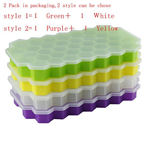 2 Pack Silicone Ice Cube Trays with Lid with 37 Ice Cubes Molds?DIY Creative Silicone Honeycomb Ice Tray Fruit Ice Cube Maker Fodant Moulds Freeze Mould Bar Jelly Chocolate Mold